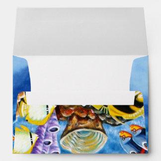 Delfínes y arte tropical de los pescados sobre