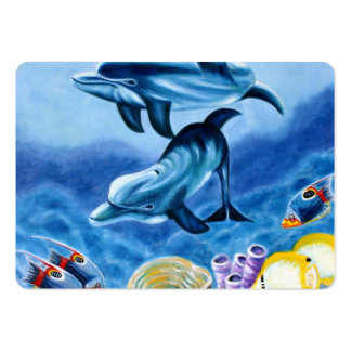 Delfínes y arte tropical de los pescados tarjetas de visita grandes