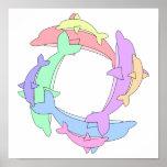 Delfínes y bebés de la natación impresiones