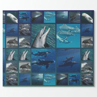 Delfínes y collage de las ballenas papel de regalo