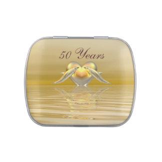 Delfínes y corazón de oro del aniversario jarrones de dulces