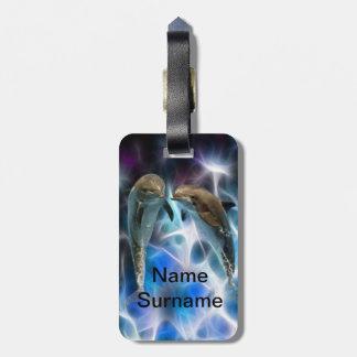 Delfínes y cristales del fractal etiquetas maletas