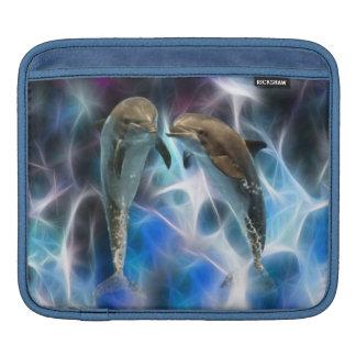 Delfínes y cristales del fractal funda para iPads