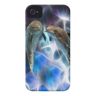 Delfínes y cristales del fractal funda para iPhone 4