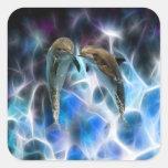 Delfínes y cristales del fractal pegatina cuadrada