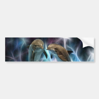 Delfínes y cristales del fractal pegatina para auto
