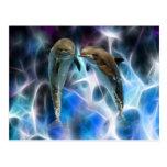 Delfínes y cristales del fractal postales