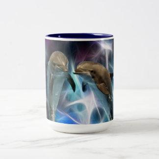 Delfínes y cristales del fractal tazas
