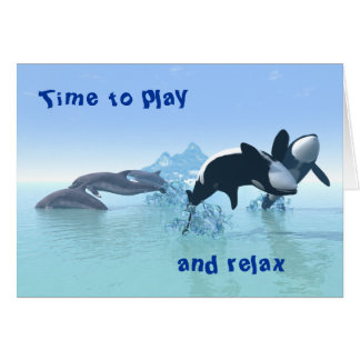 Delfínes y la tarjeta de la orca