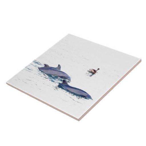 Delfínes y teja del pelícano