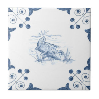 Delft Alligator Tile with Scroll Corners