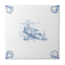 Delft Alligator Tile with Shell Corners