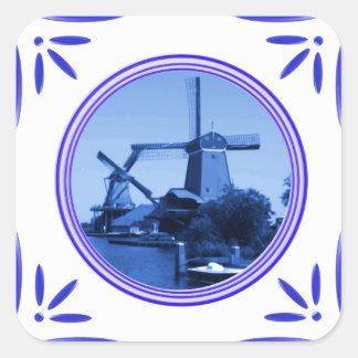 Delft-Azul-Teja-Mirada de los molinoes de viento Calcomania Cuadradas Personalizada