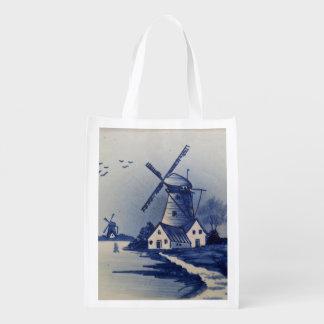 Delft azul y blanca del vintage bolsa para la compra