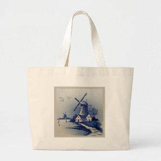 Delft azul y blanca del vintage bolsa tela grande