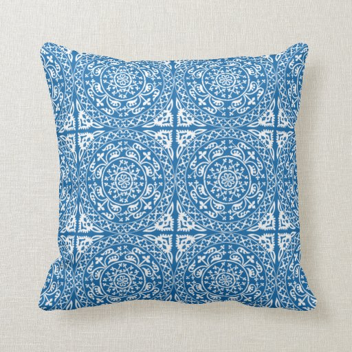 Delft Blue and White Circles Pattern Pillow Zazzle