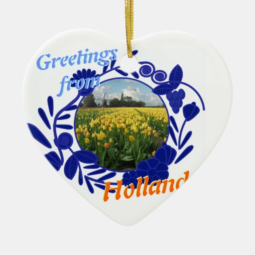 Delft Blue Delftware Pattern Greetings Holland Double-Sided Heart Ceramic Christmas Ornament