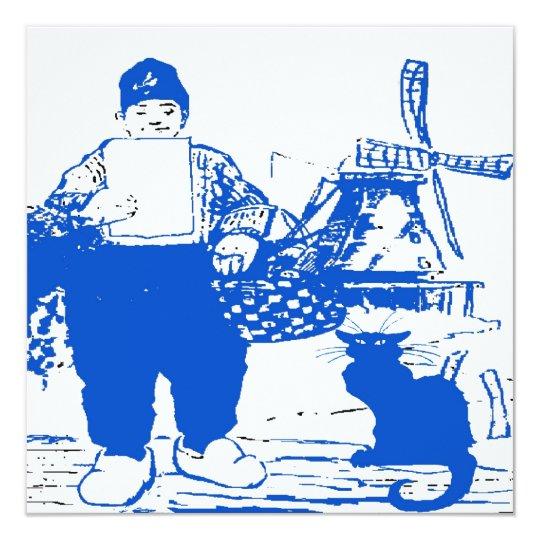 Delft Blue, Dutch Boy and Cat Card