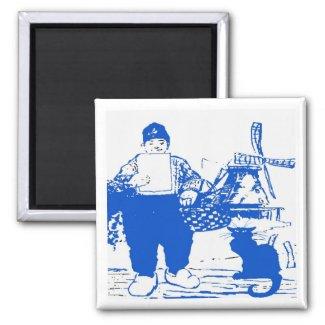 Delft Blue, Dutch Boy and Cat magnet