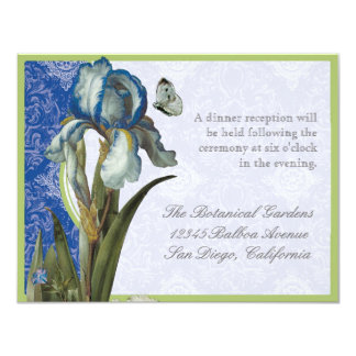 Delft Blue Iris Quatrefoil - Reception Invitation