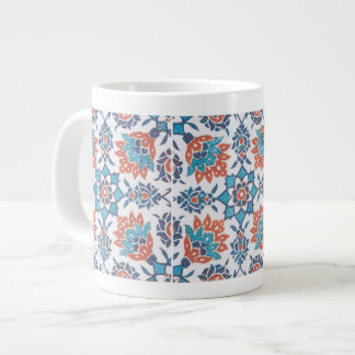 Delft Blue Red Cornflower Art Large Coffee Mug