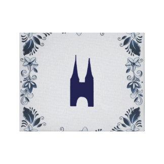 Delft blue tile Eastern Gate in Delft Canvas Print