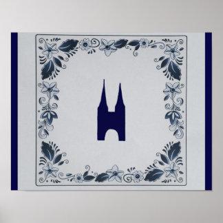 Delft blue tile Eastern Gate in Delft Poster