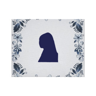 Delft blue tile Girl with a Pearl Earring Canvas Print