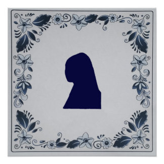 Delft blue tile Girl with a Pearl Earring Poster