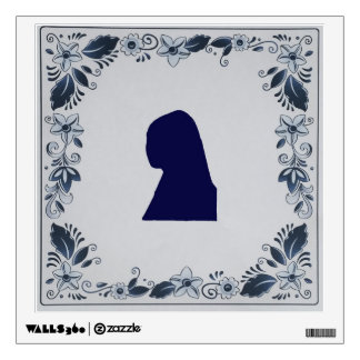 Delft blue tile Girl with a Pearl Earring Wall Sticker