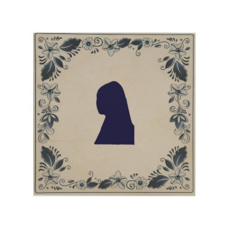 Delft blue tile Girl with a Pearl Earring Wood Print