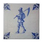 Delft Blue Tile - Mower Carrying Scythe or Sickle
