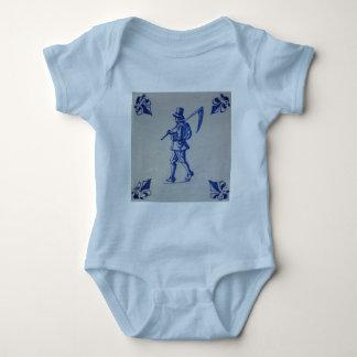 Delft Blue Tile - Mower Carrying Scythe or Sickle Baby Bodysuit