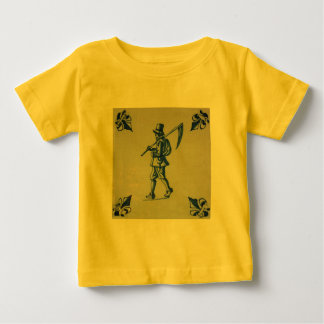 Delft Blue Tile - Mower Carrying Scythe or Sickle Baby T-Shirt