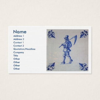 Delft Blue Tile - Mower Carrying Scythe or Sickle Business Card