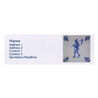 Delft Blue Tile - Mower Carrying Scythe or Sickle Double-Sided Mini Business Cards (Pack Of 20)