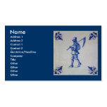 Delft Blue Tile - Mower Carrying Scythe or Sickle Business Cards