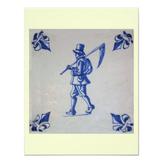 Delft Blue Tile - Mower Carrying Scythe or Sickle Card