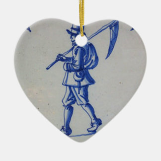 Delft Blue Tile - Mower Carrying Scythe or Sickle Ceramic Ornament