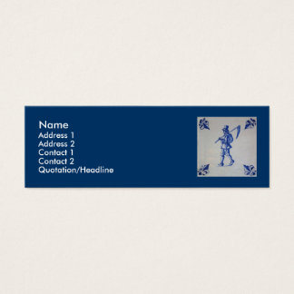 Delft Blue Tile - Mower Carrying Scythe or Sickle Mini Business Card