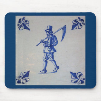 Delft Blue Tile - Mower Carrying Scythe or Sickle Mouse Pad