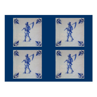 Delft Blue Tile - Mower Carrying Scythe or Sickle Postcard