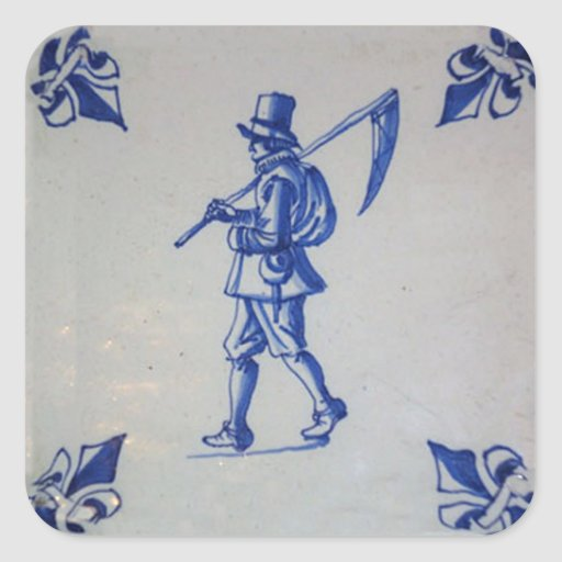 Delft Blue Tile - Mower Carrying Scythe or Sickle Stickers
