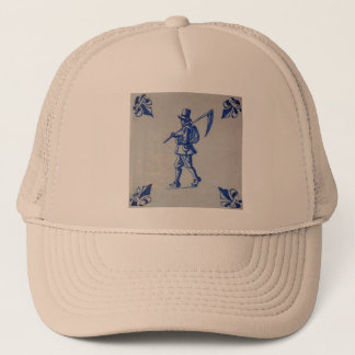 Delft Blue Tile - Mower Carrying Scythe or Sickle Trucker Hat