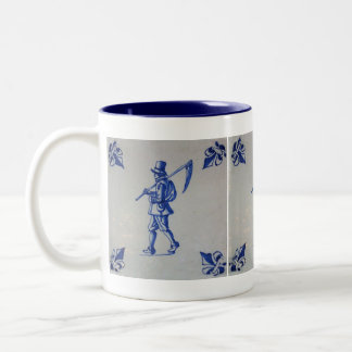 Delft Blue Tile - Mower Carrying Scythe or Sickle Two-Tone Coffee Mug