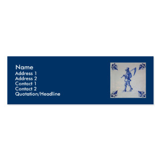 Delft Blue Tile - Template Double-Sided Mini Business Cards (Pack Of 20)