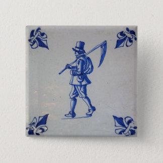 Delft Blue Tile - Template Pinback Button