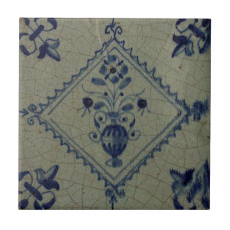 Delft Blue Tile - Vase with Flowers and Bouquet