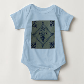 Delft Blue Tile - Vase with Flowers and Bouquet Baby Bodysuit