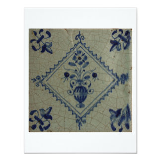 Delft Blue Tile - Vase with Flowers and Bouquet Card
